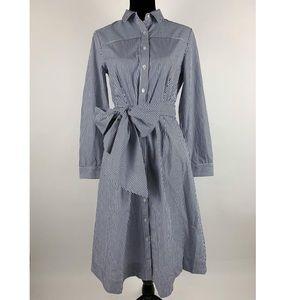 J.CREW Striped ShirtDress 6 Tie Waist Pockets Navy